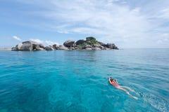 Woman snorkling at Similan Island .Andaman sea in Thailand Stock Photos