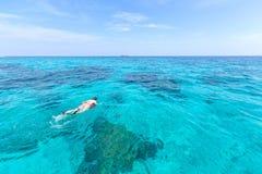 Woman snorkling at Similan Island .Andaman sea thailand, Great f Stock Photos