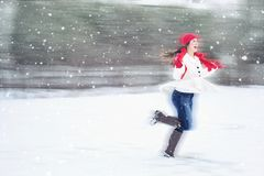 Woman in Snow Royalty Free Stock Photos
