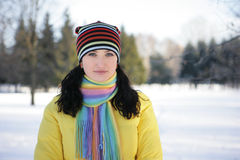 Woman in Snow. Girl on the background of a winter landscape Stock Images