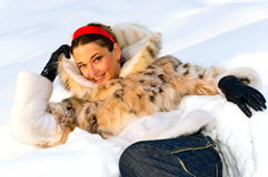 Woman on the snow stock photography