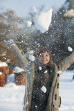 Woman in the snow Royalty Free Stock Image