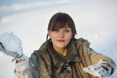 Woman in the snow Royalty Free Stock Images