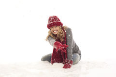 Woman in the snow Stock Photo