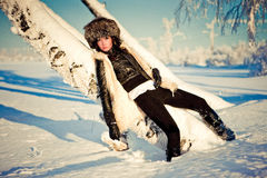 Woman in snow Royalty Free Stock Photography