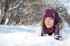 Woman in snow Stock Photography