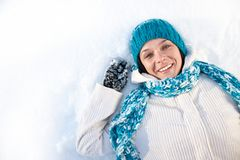 Woman in snow Stock Photo