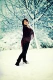 The woman and snow Stock Photography