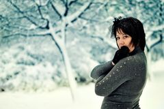 The woman and snow Stock Photo