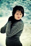 The woman and snow Royalty Free Stock Photo
