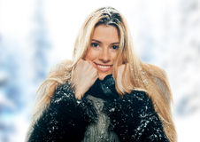 Woman in snow Stock Image