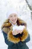 Woman with snow Royalty Free Stock Image