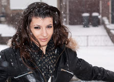 Woman in the snow Royalty Free Stock Photos