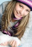 Woman in Snow. Beautiful woman playing in snow Stock Photography