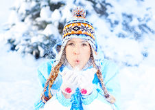 Woman with snow Royalty Free Stock Photo