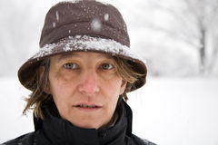 Woman in snow Royalty Free Stock Images