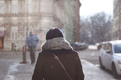 Woman in snow crystals Stock Images