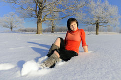 Woman on snow field Royalty Free Stock Photography