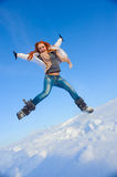 Woman on the snow field Royalty Free Stock Photos
