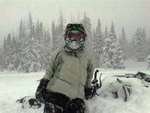 Woman Snow machine rider break Royalty Free Stock Photography
