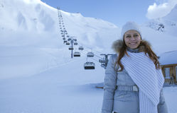 Woman in snow mountain Stock Photo