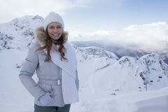 Woman in snow mountain Stock Photos