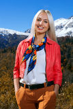 Woman in snow mountain Royalty Free Stock Image