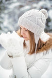 Woman and Snow Stock Image