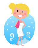 Woman in snow after sauna Stock Images
