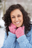 Woman In Snow Wearing Warm Clothing Royalty Free Stock Photo