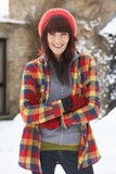 Woman In Snow Wearing Warm Clothing Royalty Free Stock Image