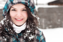 Woman in snow at winter Stock Images