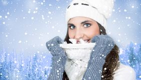 Woman on snow, winter background Royalty Free Stock Photography