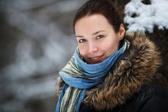 Woman in snow winter forest Stock Image