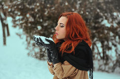 Woman and snow Royalty Free Stock Photos