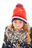 Woman in the snow Royalty Free Stock Photography