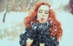 Woman and snow Royalty Free Stock Photo