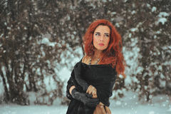 Woman and snow Royalty Free Stock Photography