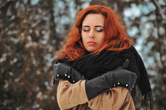 Woman and snow Royalty Free Stock Images