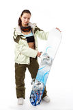 Woman with a snowboard Stock Photo