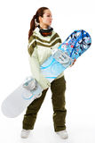 Woman with a snowboard Royalty Free Stock Images