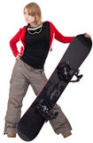 Woman with a snowboard. Isolated on white stock image