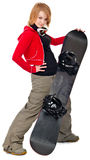 Woman with a snowboard Royalty Free Stock Image