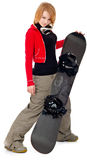 Woman with a snowboard Stock Images