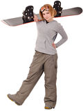 Woman with a snowboard. Isolated on white stock photography