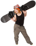 Woman with a snowboard. Isolated on white royalty free stock images