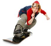 Woman with a snowboard. Isolated on white royalty free stock photo