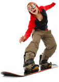 Woman with a snowboard Royalty Free Stock Photos