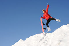 Woman with snowboard Royalty Free Stock Image