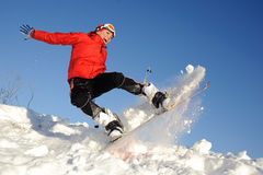 Woman on snowboard Royalty Free Stock Image